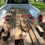 """Chiefland resident and project supporter Leroy Cannon kindly donated a large stock of beautiful, old heart pine rough cut lumber """"2-bys"""" with circular saw mark that had salvaged from the demolition of an old homestead in Gilchrist county."""