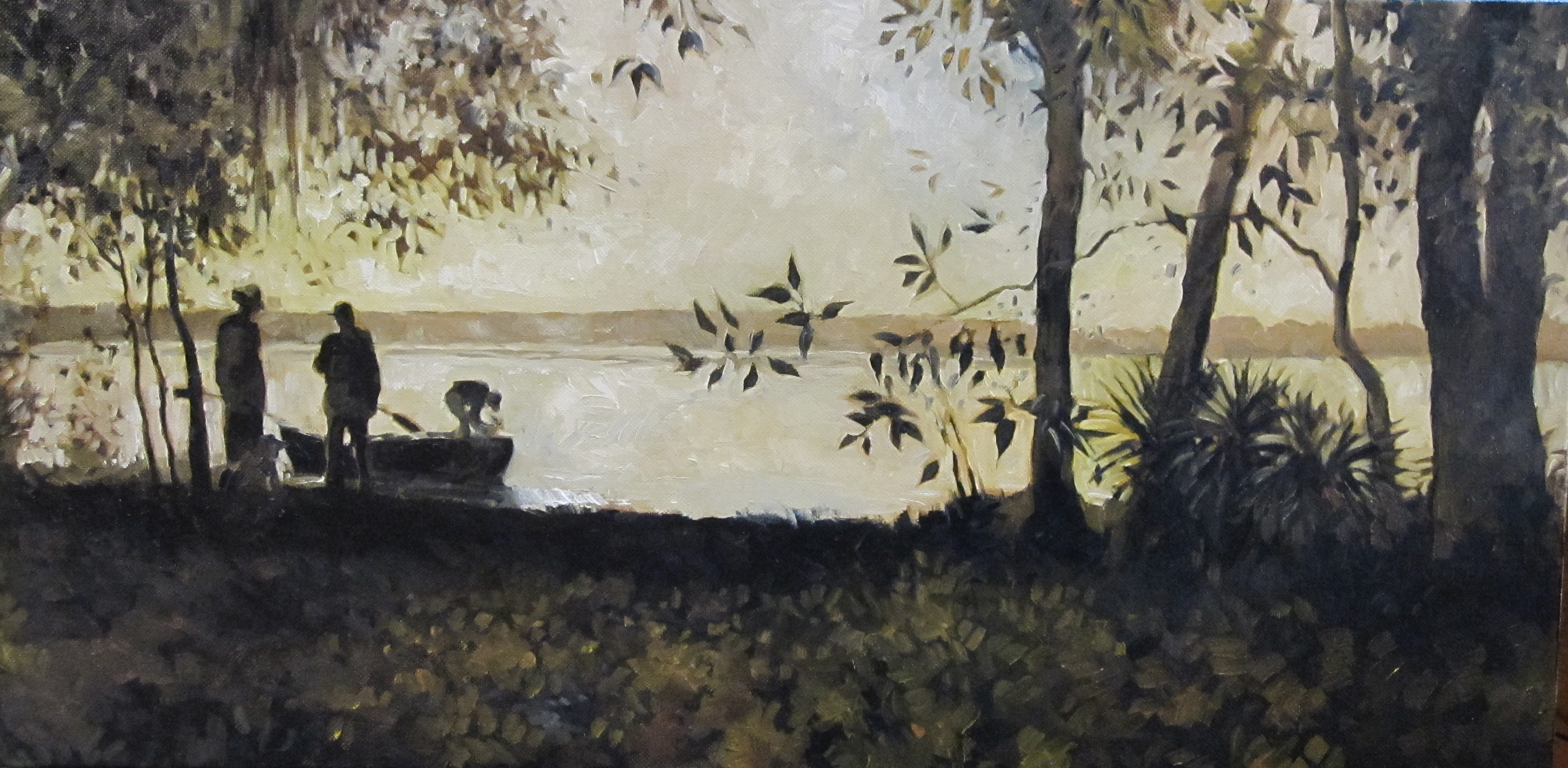 A view from the cabin to the lake - painting by E. Blair